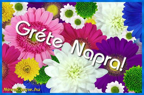Színes virágok Gréte névnapra