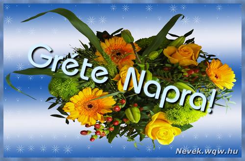 Gréte névnapi képeslap