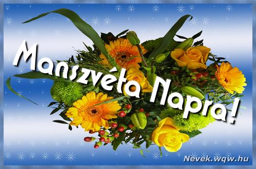 Manszvéta névnapi képeslap