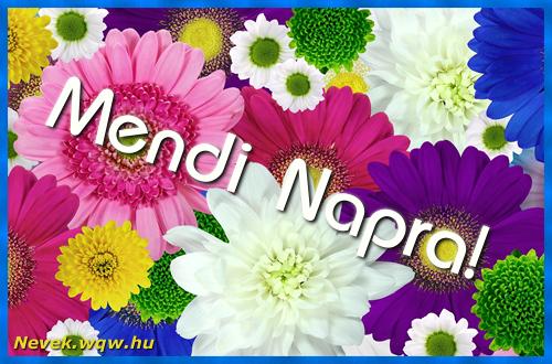 Színes virágok Mendi névnapra