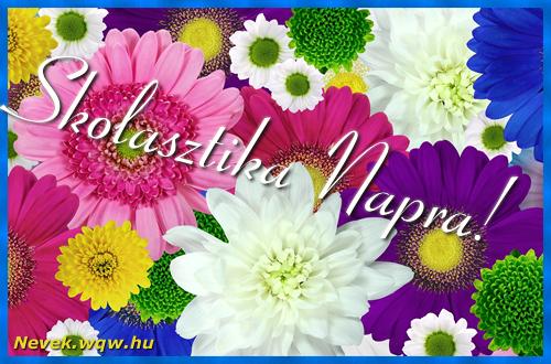 Színes virágok Skolasztika névnapra