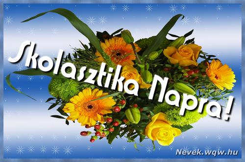 Skolasztika névnapi képeslap