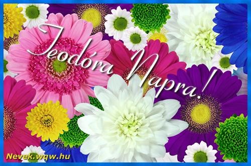 Színes virágok Teodóra névnapra