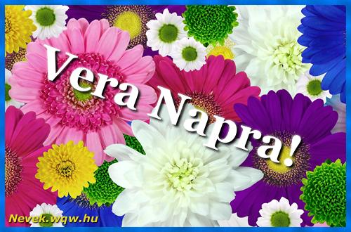 Színes virágok Vera névnapra