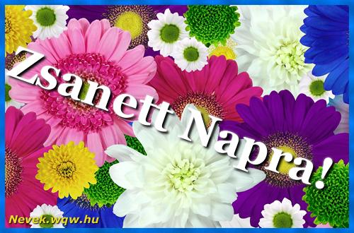 Színes virágok Zsanett névnapra